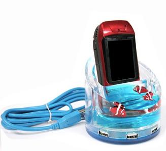 USB Hub with Mobile Phone Holder
