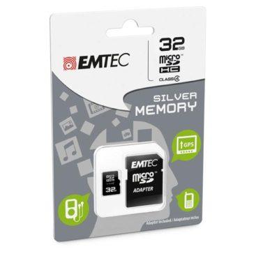 MicroSDHC 32GB EMTEC +Adapter CL4 Silver Memory Blister