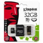 MicroSDHC 32GB Kingston CL10 Multi Kit (2xAdapter)