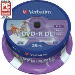 DVD+R 8.5GB Verbatim 8x DL IW FS 25 CB 43667