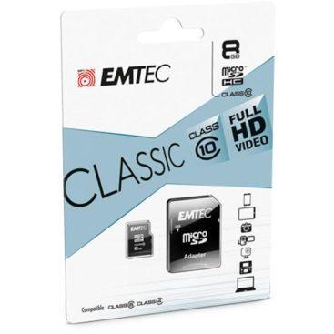 MicroSDHC 8GB EMTEC +Adapter CL10 CLASSIC Blister