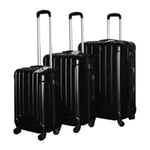 Travel Luggage Trolley Set ABS 3 pcs (Black)