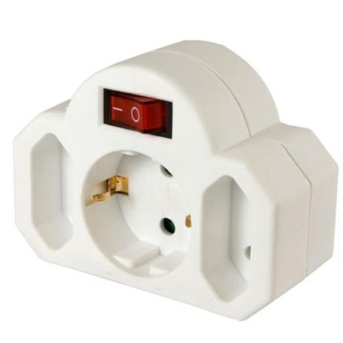 Arcas plug adapter 2+1 with switch