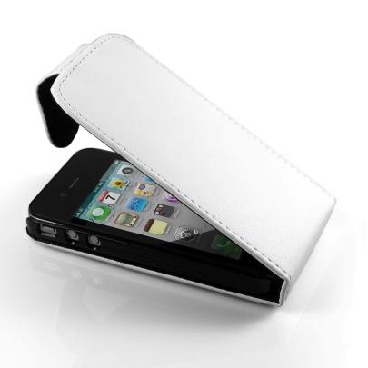 Δερμάτινη Θήκη TECHNAXX γιά iPhone 4 Flap Ασπρη