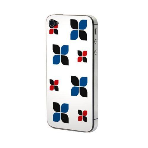 Προστατευτικό Αυτοκόλλητο για iPhone 4/4S (Flowers black-blue-re
