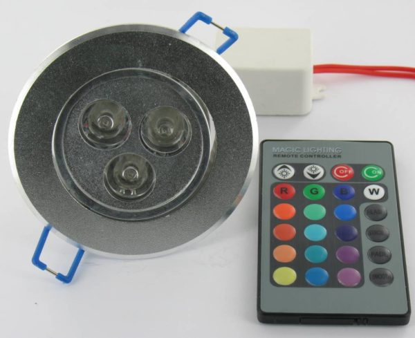 3 Watt RGB LED Downlight with IR Remote Control