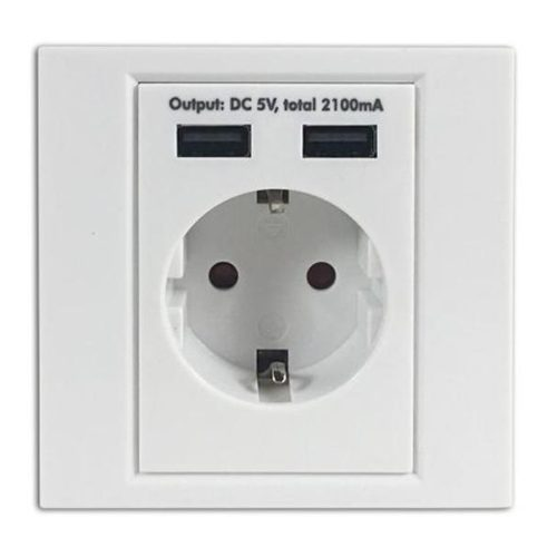 Arcas Schuko-Wall Socket with 2 USB ports (white)