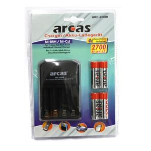 Arcas charger ARC-2009 and 4x AA batteries 2700