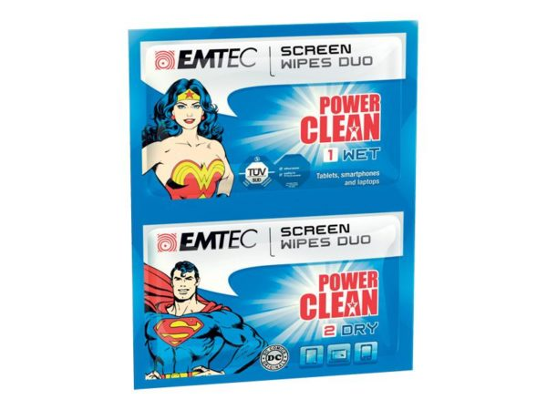 EMTEC Duo wipes, Superman and Wonder Woman
