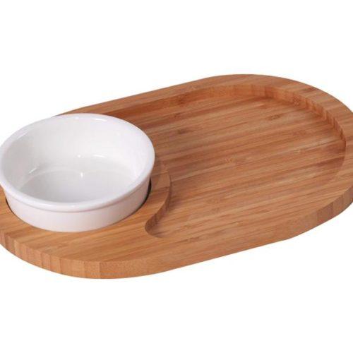 MK Bamboo HAMBURG - Oval Chip & Dip Tray Set with 1 Bowl