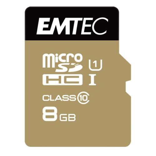 MicroSDHC 8GB EMTEC +Adapter CL10 Gold+ UHS-I 85MB