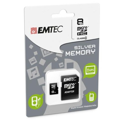 MicroSDHC 8GB EMTEC +Adapter CL4 Silver Memory Blister