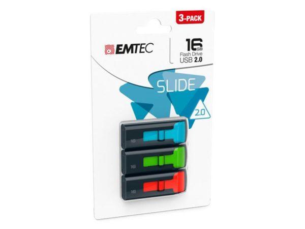 USB FlashDrive 16GB EMTEC C450 Slide 2.0 (3-PACK)