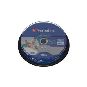 BD-R 25GB Verbatim 6x DATALIFE Inkjet white HTL 10er Cakebox 43804