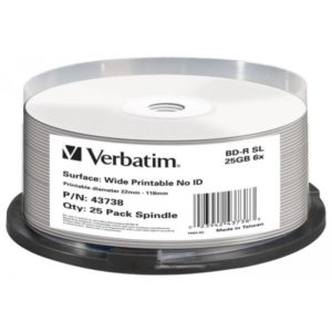 BD-R 25GB Verbatim 6x Inkjet white 25er Cakebox 43738