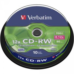 CD-RW 80 Verbatim 12x 10er Cakebox 43480