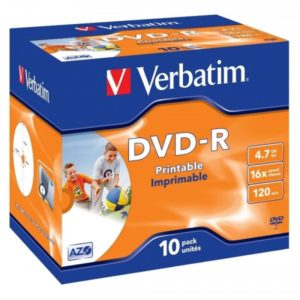 DVD-R 4.7GB Verbatim 16x Inkjet white Full Surface 10er Jewel Case 43521