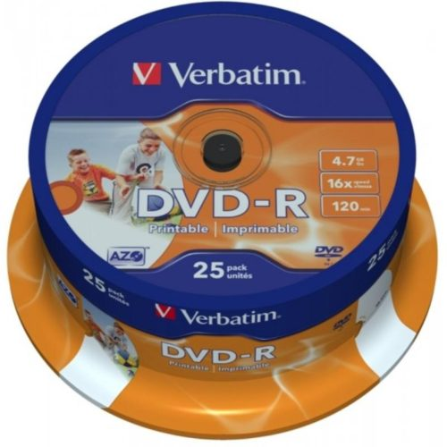 DVD-R 4.7GB Verbatim 16x Inkjet white Full Surface 25er Cakebox 43538