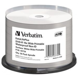 DVD-R 4.7GB Verbatim 16x Inkjet white Full Surface Glossy Waterproof 50er Cakebox 43734