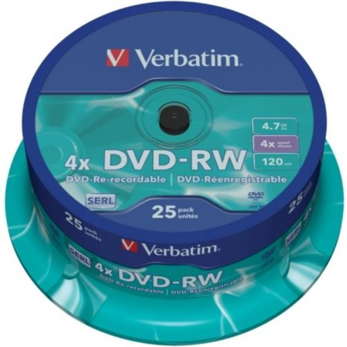 DVD-RW 4.7GB Verbatim 4x 25er Cakebox 43639