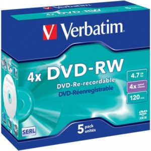 DVD-RW 4.7GB Verbatim 4x 5er Jewel Case 43285