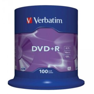 DVD+R 4.7GB Verbatim 16x 100er Cakebox 43551