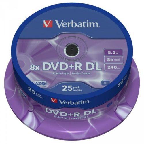 DVD+R 8.5GB Verbatim 8x DL Mattsilver SF 25 CB 43757