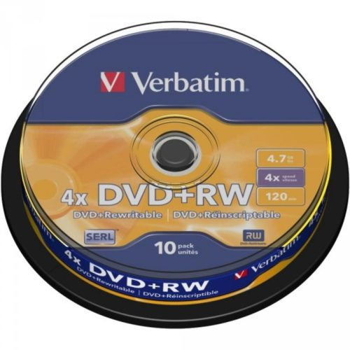 DVD+RW 4.7GB Verbatim 4x 10er Cakebox 43488