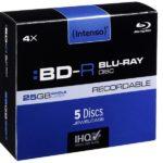 Intenso Recordable BD-R 25GB 4x Speed - 5pcs Jewel Case