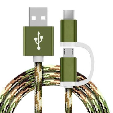 2 in 1 Charging Cable (USB Micro & Type-C) - 1,0 Meter (Army Green-Nylon)