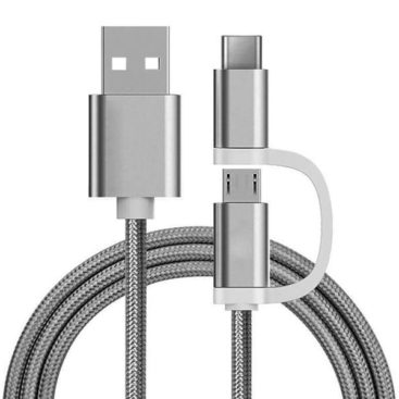 2 in 1 Charging Cable (USB Micro & Type-C) - 1,0 Meter (Silver-Nylon)