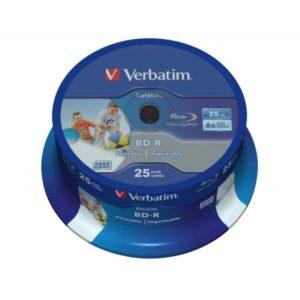 BD-R 25GB Verbatim 6x DATALIFE Inkjet white HTL 25er Cakebox 43811