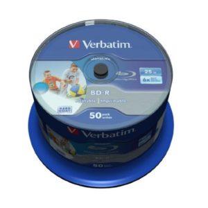 BD-R 25GB Verbatim 6x DATALIFE Inkjet white HTL 50er Cakebox 43812