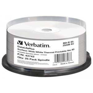 BD-R 25GB Verbatim 6x Thermo white Full Surface 25er Cakebox 43743