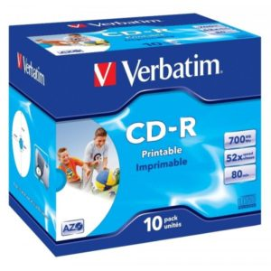 CD-R 80 Verbatim 52x DLP Inkjet white Full Surface 10er Jewel Case 43325