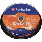 DVD-R 4.7GB Verbatim 16x 10er Cakebox 43523