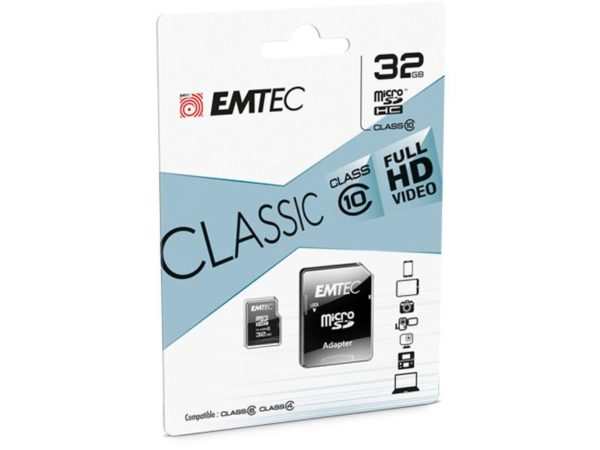MicroSDHC 32GB EMTEC +Adapter CL10 CLASSIC Blister
