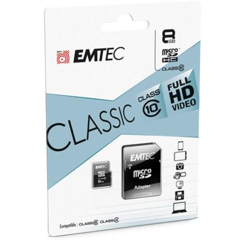 MicroSDHC 8GB EMTEC +Adapter CL10 CLASSIC Blister
