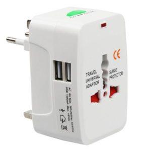 Travel Adapter EU-UK-US-CN-JAP-AU-SP + 2x USB Port (C110B)