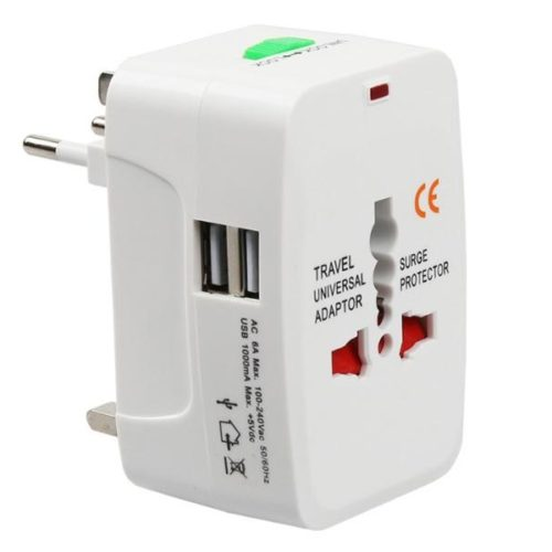Travel Adapter EU-UK-US-CN-JAP-AU-SP + 2x USB Port (C110B)