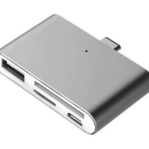 USB Type-C Smart Reader for microSD, SD, USB, USB Micro (Grey)