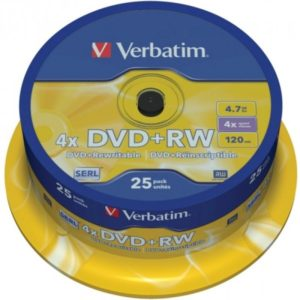 DVD+RW 4.7GB Verbatim 4x 25er Cakebox