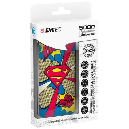 EMTEC Power Bank 5000mAh Slim U750 SUPERMAN
