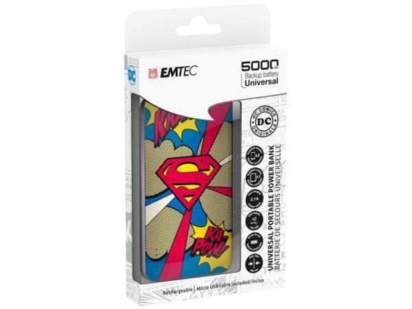 EMTEC Power Bank 5000mAh Slim U750 SUPERMAN