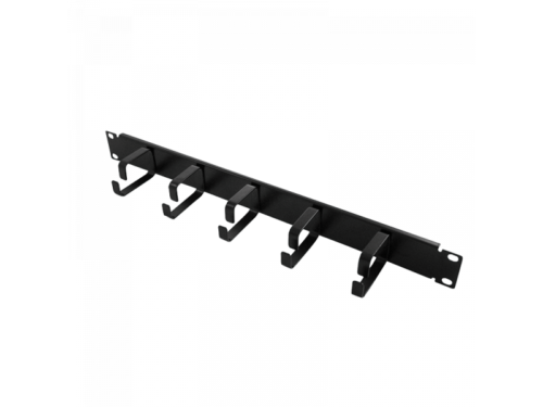Logilink 19 Cable Management Bar 1U with 5 fixed metal brackets, black (OR101B)