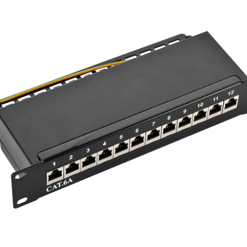 Logilink Patch Panel 10-mounting Cat.6A STP 12 ports, black (NP0052B)