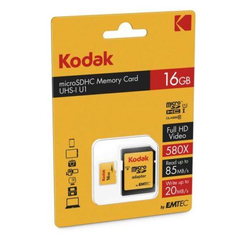 MicroSDHC 16GB Kodak +Adapter CL10 UHS-I 85MB