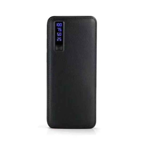 Powerbank 20000mAh LEATHER DESIGN with LED Torch and 3x USB (black)