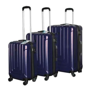 Travel Luggage Trolley Set ABS 3 pcs (Blue)