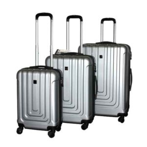 Travel Luggage Trolley Set ABS 3 pcs (Silver)